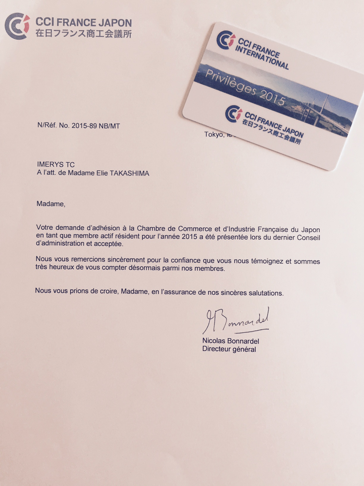 在日フランス商工会議所の正会員になりました♪